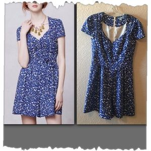 Anthropologie Leifnotes Blue Cap Sleeve Romper